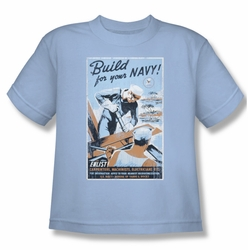Navy youth teen t-shirt Build Your Navy light blue