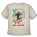 Navy youth teen t-shirt Fight Let's Go cream