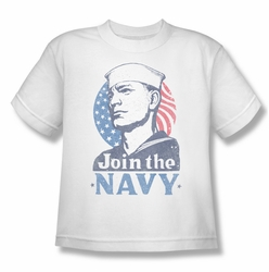Navy youth teen t-shirt Join Now white