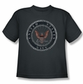 Navy youth teen t-shirt Rough Emblem charcoal
