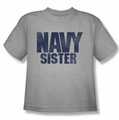 Navy youth teen t-shirt Sister athletic heather