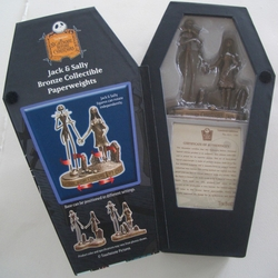 NBX Jack Skellington and Sally Bronze Paperweight Set
