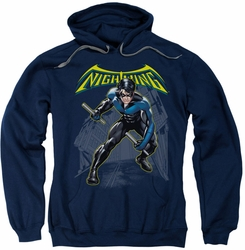 Nightwing pull-over hoodie Action Pose adult navy