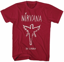 Nirvana Chalk Outline in Utero men cardinal t shirt pre-order