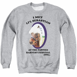 Parks & Rec adult crewneck sweatshirt Lil Sebastian athletic heather