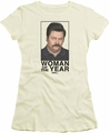 Parks & Rec juniors t-shirt Woman Of The Year cream