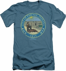 Parks & Rec slim-fit t-shirt Distressed Pawnee Seal mens slate