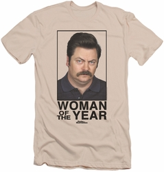 Parks & Rec slim-fit t-shirt Woman Of The Year mens cream