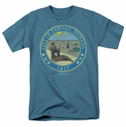 Parks & Rec t-shirt Distressed Pawnee Seal mens slate
