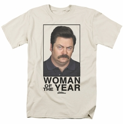 Parks & Rec t-shirt Woman Of The Year mens cream