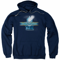Polar Express pull-over hoodie Train Logo adult navy