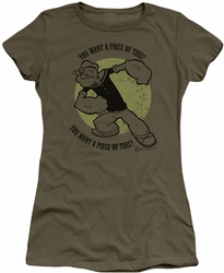 Popeye juniors t-shirt You Want A Piece military green