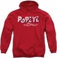 Popeye pull-over hoodie 3D Logo adult red