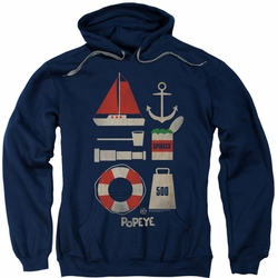 Popeye pull-over hoodie Items adult navy