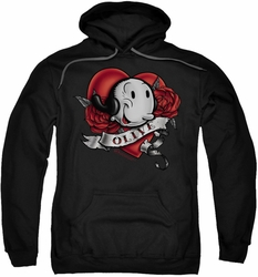 Popeye pull-over hoodie Olive Tattoo adult black
