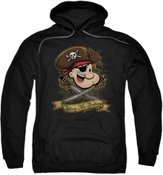Popeye pull-over hoodie Shiver Me Timbers adult black