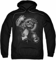 Popeye pull-over hoodie Spinach King adult black