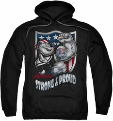 Popeye pull-over hoodie Strong & Proud adult black