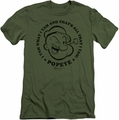 Popeye slim-fit t-shirt I Yam mens military green