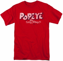 Popeye t-shirt 3D Logo mens red