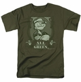 Popeye t-shirt All About The Green mens military green