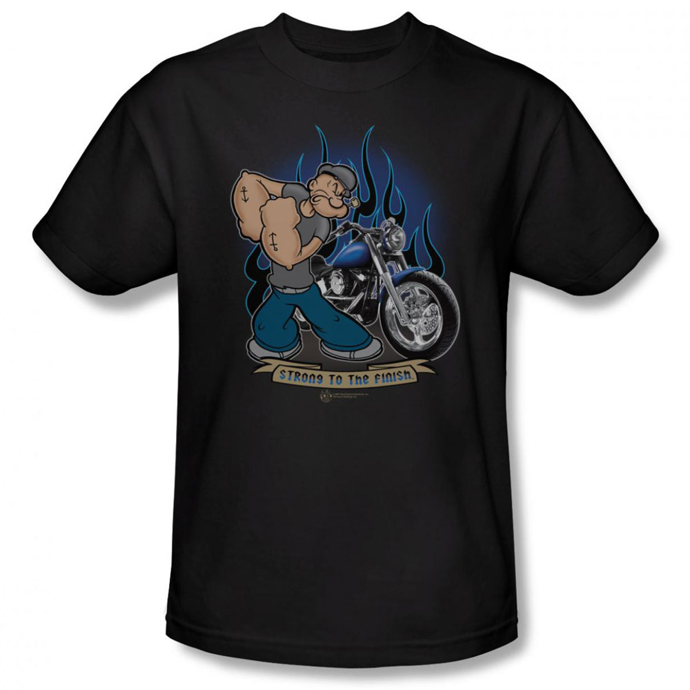 popeye t shirt biker popeye mens black. Black Bedroom Furniture Sets. Home Design Ideas