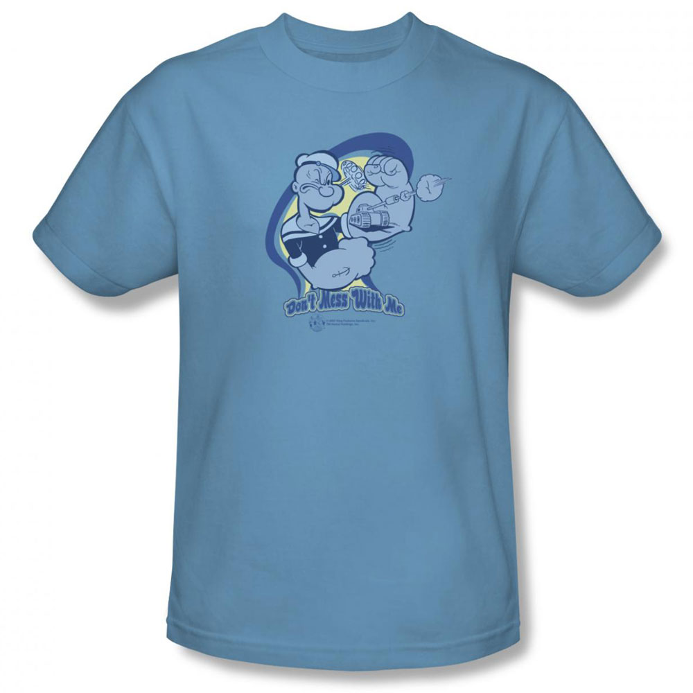 popeye t shirt don 39 t mess with me mens light blue. Black Bedroom Furniture Sets. Home Design Ideas