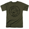 Popeye t-shirt I Yam mens military green