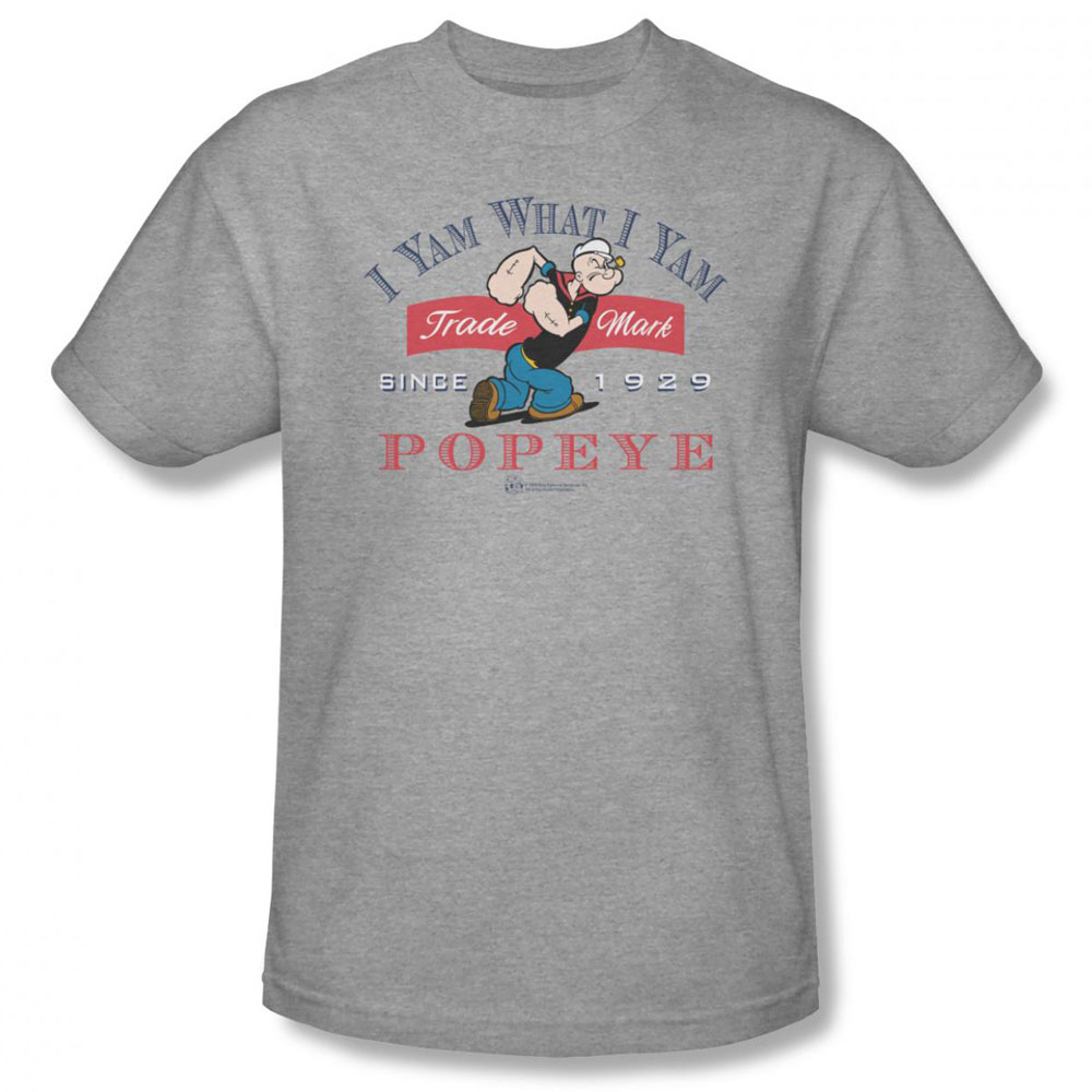 popeye t shirt i yam what i yam mens heather. Black Bedroom Furniture Sets. Home Design Ideas