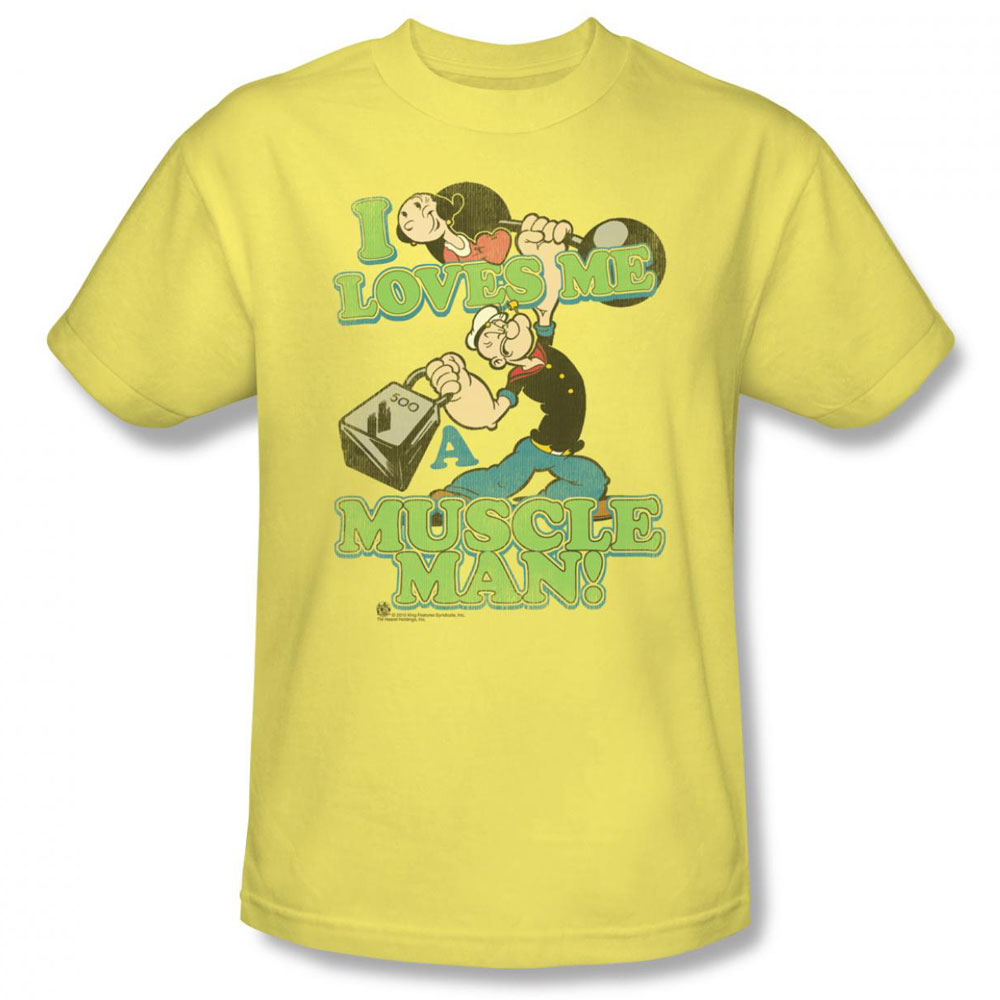 popeye t shirt muscle man mens banana. Black Bedroom Furniture Sets. Home Design Ideas