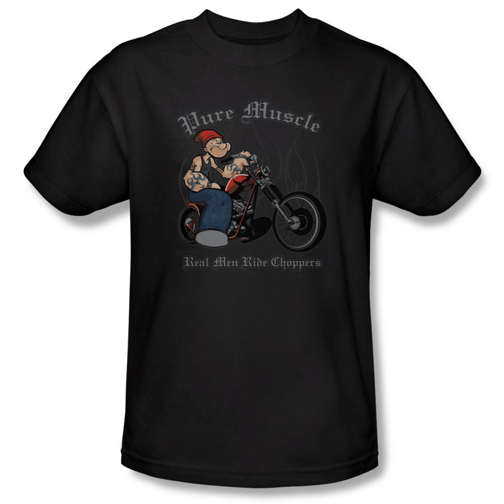 popeye t shirt pure muscle mens black. Black Bedroom Furniture Sets. Home Design Ideas