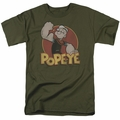 Popeye t-shirt Retro Ring mens military green