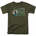 Popeye t-shirt Spinach Power mens military green