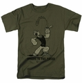 Popeye t-shirt Strong To The Finish mens military green