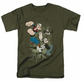 Popeye t-shirt Three Part Punch mens military green