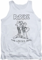 Popeye tank top Ladies Man mens white