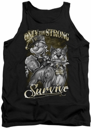 Popeye tank top Only The Strong mens black