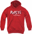 Popeye youth teen hoodie 3D Logo red