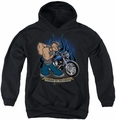 Popeye youth teen hoodie Biker Popeye black