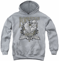 Popeye youth teen hoodie Forearms athletic heather