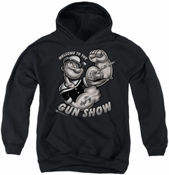 Popeye youth teen hoodie Gun Show black
