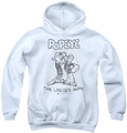 Popeye youth teen hoodie Ladies Man white