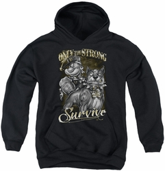 Popeye youth teen hoodie Only The Strong black