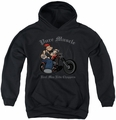 Popeye youth teen hoodie Pure Muscle black