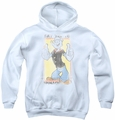 Popeye youth teen hoodie Say Yes To Spinach white