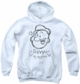 Popeye youth teen hoodie Sketch Portrait white