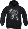 Popeye youth teen hoodie Spinach King black