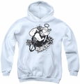 Popeye youth teen hoodie Stars And Anchor white
