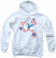 Popeye youth teen hoodie Stars white