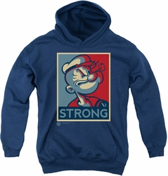 Popeye youth teen hoodie Strong navy